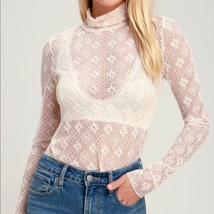 Free people ivory all lace turtleneck Beautiful.